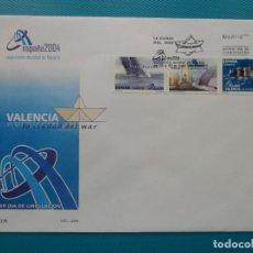 Sellos: 2004-ESPAÑA-FDC-HOJITA-BLOC-(SOBRE GRANDE)-EXPO MUNDIAL DE FILATELIA-ESPAÑA 2004-VALENCIA. Lote 289595203