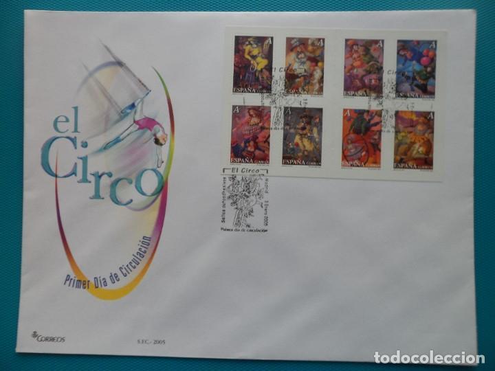 2005-ESPAÑA-FDC-HOJITA-BLOC-(SOBRE GRANDE)-EL CIRCO (Sellos - España - Entero Postales)