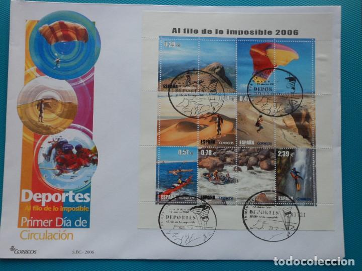 2006-ESPAÑA-FDC-HOJITA-BLOC-(SOBRE GRANDE)-PARA LOS JOVENES-AL FILO DE LO IMPOSIBLE (Sellos - España - Entero Postales)