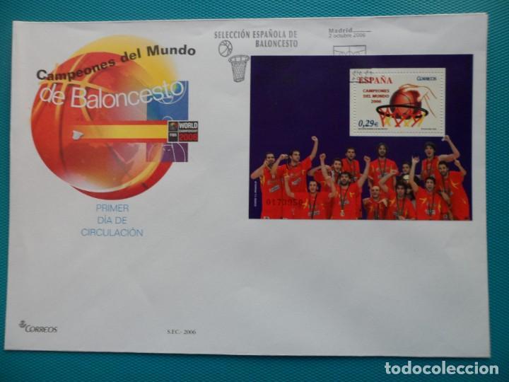 2006-ESPAÑA-FDC-HOJITA-BLOC-(SOBRE GRANDE)-CAMPEONES DEL MUNDO DE BALONCESTO (Sellos - España - Entero Postales)