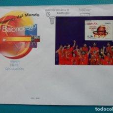 Sellos: 2006-ESPAÑA-FDC-HOJITA-BLOC-(SOBRE GRANDE)-CAMPEONES DEL MUNDO DE BALONCESTO. Lote 289600243
