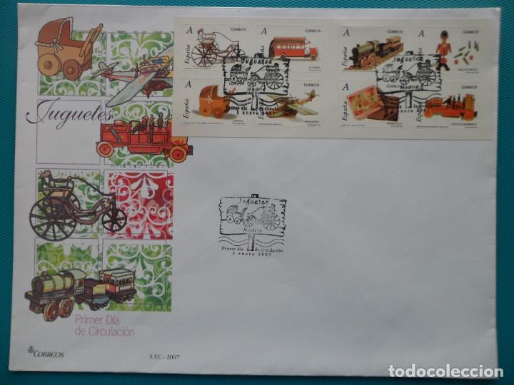 2007-ESPAÑA-FDC-HOJITA-BLOC-(SOBRE GRANDE)-JUGUETES TARIFA A (Sellos - España - Entero Postales)