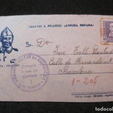 Sellos: VIVA FRANCO-GOBIERNO MILITAR DE GUIPUZCOA CENSURA MILITAR CORREOS-ENTERO POSTAL-VER FOTOS-(85.308). Lote 296885498