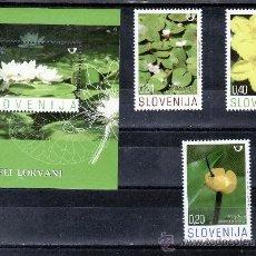Sellos: ESLOVENIA 593/5, HB 33 SIN CHARNELA, FLORES ACUATICAS . Lote 25633236
