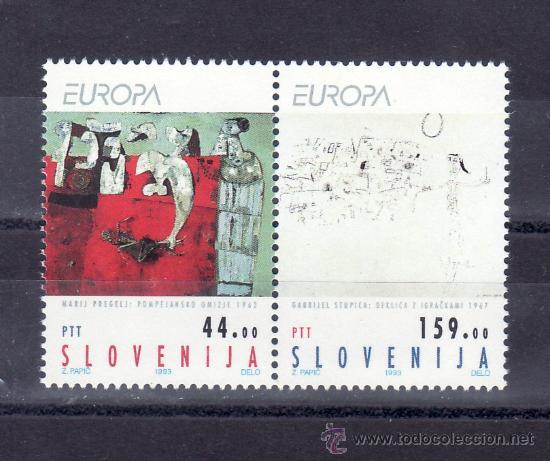 ESLOVENIA 46/7 SIN CHARNELA, TEMA EUROPA, ARTE CONTEMPORANEO (Sellos - Extranjero - Europa - Eslovenia)