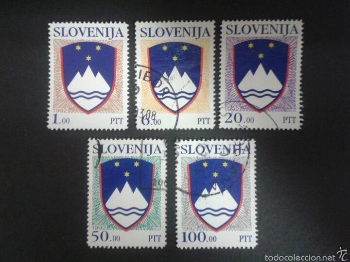 SELLOS DE ESLOVENIA. ESCUDOS. YVERT 8/12. SERIE COMPLETA USADA.. (Sellos - Extranjero - Europa - Eslovenia)