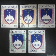 Briefmarken - SELLOS DE ESLOVENIA. ESCUDOS. YVERT 8/12. SERIE COMPLETA USADA.. - 57740596