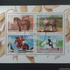 Briefmarken - SELLOS DE ESLOVENIA. CABALLOS. YVERT HB-9. SERIE COMPLETA USADA - 57877280