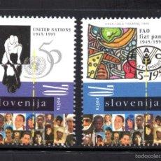 Sellos: ESLOVENIA 115/16** - AÑO 1995 - 50º ANIVERSARIO DE NACIONES UNIDAS Y DE LA F.A.O.. Lote 58457186