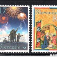 Sellos: ESLOVENIA 1999 IVERT 255/6 *** NAVIDAD Y AÑO NUEVO. Lote 103621979