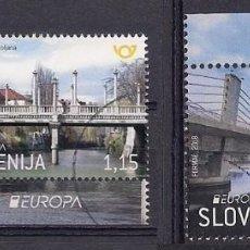 Sellos: ESLOVENIA 2018 - EUROPA PUENTES - 2 SELLOS TIMBRADOS DE FAVOR. Lote 125899747