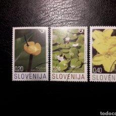 Sellos: ESLOVENIA. YVERT 593/5. SERIE COMPLETA USADA. FLORA. FLORES. Lote 138836778