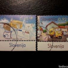 Sellos: ESLOVENIA. AÑO 2008. 2 VALORES. SERIE COMPLETA USADA. EUROPA. SERVICIO POSTAL. CORREOS. Lote 138837393