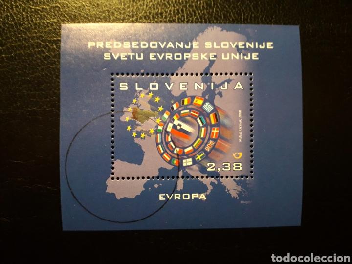 ESLOVENIA. HB AÑO 2008. 1 VALOR. SERIE COMPLETA USADA. UNIÓN EUROPEA. MAPAS. BANDERAS (Sellos - Extranjero - Europa - Eslovenia)