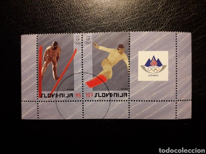 ESLOVENIA. YVERT 531/2. SERIE COMPLETA USADA. DEPORTES. OLIMPIADA DE INVIERNO TURÍN. ESQUÍ (Sellos - Extranjero - Europa - Eslovenia)