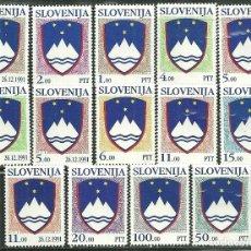 Sellos: ESLOVENIA 1991/1992 IVERT 2/5, 8/12 Y 13/17 *** ESCUDOS DE LA REPUBLICA. Lote 154814122