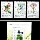 Sellos: ESLOVENIA 2002 - SLOVENIE - FLORES - YVERT Nº 365-367**+ BLOCK Nº 13**. Lote 160144850