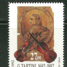 Sellos: ESLOVENIA 1992 IVERT 19 *** 3º CENTENARIO NACIMIENTO DEL COMPOSITOR Y VIOLINISTA GIUSEPPE TARTINI. Lote 165460258