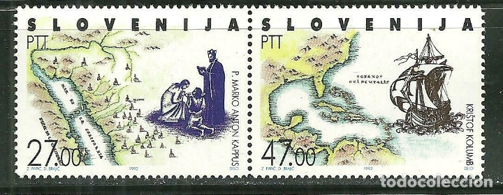 ESLOVENIA 1992 IVERT 20/21 *** 500º ANIVERSARIO DEL DESCUBRIMIENTO DE AMERICA POR CRISTOBAL COLON (Sellos - Extranjero - Europa - Eslovenia)