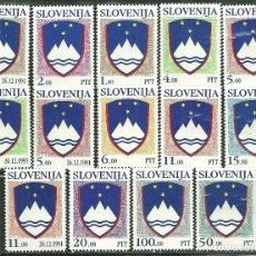 Sellos: ESLOVENIA 1991/1992 IVERT 2/5, 8/12 Y 13/17 *** ESCUDOS DE LA REPUBLICA. Lote 171677114
