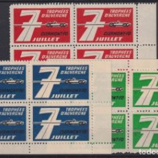 """Sellos: """"F-EX17560 FRANCE CINDERELLA STAMPS LOT AUVERNE CAR RACING STAMPS MNH BLOCK"""". Lote 209269403"""