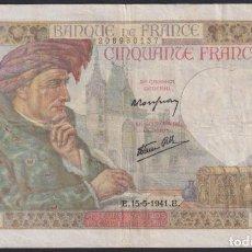 "Sellos: ""F-EX1552 FRANCE FRANCIA FRANCIA 1941 BANKNOTE 50FR."". Lote 209269536"