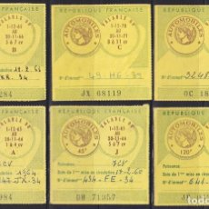 """Sellos: """"F-EX17748 FRANCE MOTOR REVENUE STAMPS AUTOMOVILES 1965 6 ALL DIFFERENT."""". Lote 209269556"""