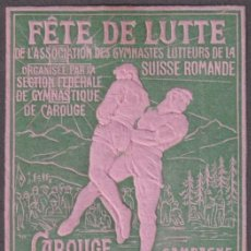 "Sellos: ""F-EX17520 SWITZERLAND FRANCE 1907 CINDERELLA GRECO-ROMAN WRESTLING ORIGINAL GUM"". Lote 209269591"