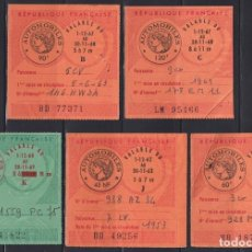 """Sellos: """"F-EX17750 FRANCE MOTOR REVENUE STAMPS AUTOMOVILES 1963-69 5 ALL DIFFERENT."""". Lote 209269597"""
