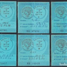 """Sellos: """"F-EX17749 FRANCE MOTOR REVENUE STAMPS AUTOMOVILES 1966 6 ALL DIFFERENT."""". Lote 209269626"""