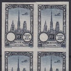 Sellos: F-EX18831 FRANCE CINDERELLA 1922 ROUEN AVIATION MEETING BLOCK 4 IMPERF. Lote 219062150