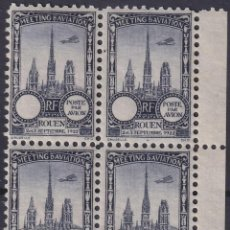 Sellos: F-EX18848 FRANCE CINDERELLA 1922 ROUEN AVIATION MEETING BLOCK 4 PERF.. Lote 219062195