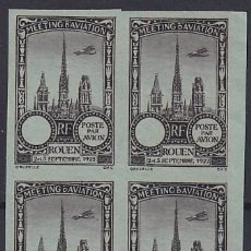 Sellos: F-EX18832 FRANCE CINDERELLA 1922 ROUEN AVIATION MEETING BLOCK 4 IMPERF.. Lote 219062203