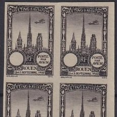 Sellos: F-EX18834 FRANCE CINDERELLA 1922 ROUEN AVIATION MEETING BLOCK 4 IMPERF.. Lote 219062205