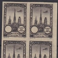 Sellos: F-EX18837 FRANCE CINDERELLA 1922 ROUEN AVIATION MEETING BLOCK 4 IMPERF.. Lote 219062218
