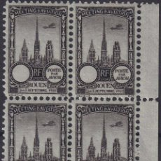 Sellos: F-EX18839 FRANCE CINDERELLA 1922 ROUEN AVIATION MEETING BLOCK 4 PERF.. Lote 219062220