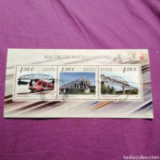 Sellos: ESTONIA 2012 FDC FERROCARRIL PUENTES JIS 3V M/S TRENES DE CUBIERTA SELLOS DE ARQUITECTURA. Lote 219955655
