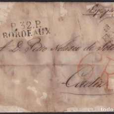 Sellos: F-EX19134 FRANCE 1829 DESINFECTED MAIL TO SPAIN 2 CUT + IMMERATION IN VINEGAR.. Lote 226974734