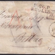 Sellos: F-EX19133 FRANCE 1829 MASONIC DESINFECTED MAIL TO SPAIN 2 CUT + IMMERATION IN VINEGAR.. Lote 226974750