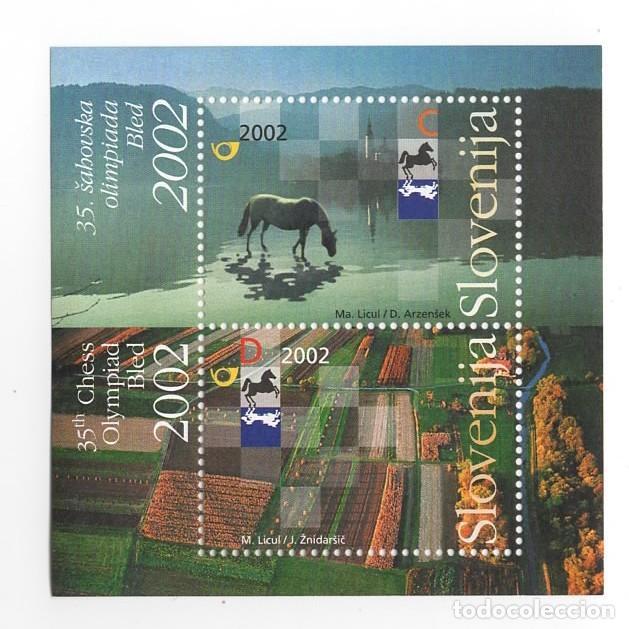 ESLOVENIA / SLOVENIJA - OLIMPIADA DEL AJEDREZ / TABLERO - AÑO 2002 - 1 HB DE 2 SELLOS NUEVOS (Sellos - Extranjero - Europa - Eslovenia)