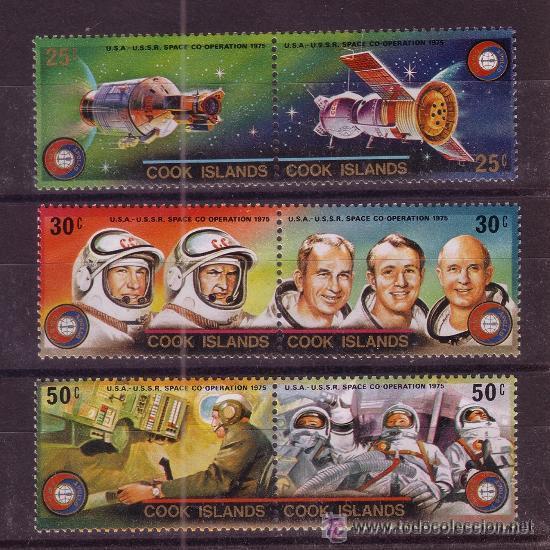 COOK 418/23*** - AÑO 1975 - CONQUISTA DEL ESPACIO - COOPERACION ESPACIAL USA - URSS (Sellos - Temáticas - Conquista del Espacio)