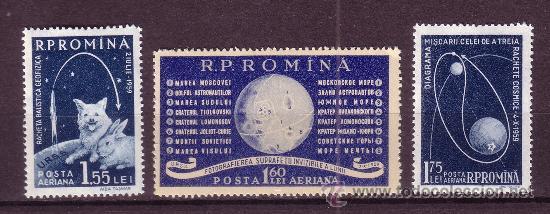 RUMANÍA AÉREO 104/06** - AÑO 1959 - CONQUISTA DEL ESPACIO - COHETES - LUNA (Sellos - Temáticas - Conquista del Espacio)