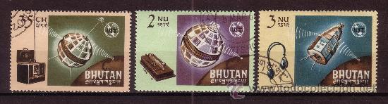 BHUTAN 60/62 - AÑO 1966 - CENTENARIO DE LA UNIÓN INTERNACIONAL DE TELECOMUNICACIONES - SATÉLITES (Sellos - Temáticas - Conquista del Espacio)