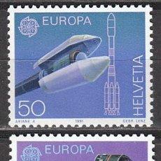Sellos: SUIZA IVERT 1372/3, EUROPA 1991(EL ESPACIO: EL ARIANE Y EL GIOTTO), NUEVO (SERIE COMPLETA). Lote 65854247