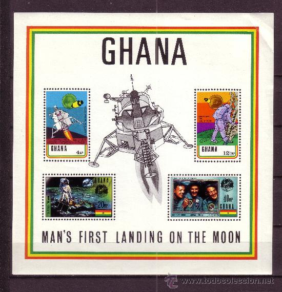 GHANA HB 37*** - AÑO 1970 - CONQUISTA DEL ESPACIO - PRIMER HOMBRE EN LA LUNA (Sellos - Temáticas - Conquista del Espacio)
