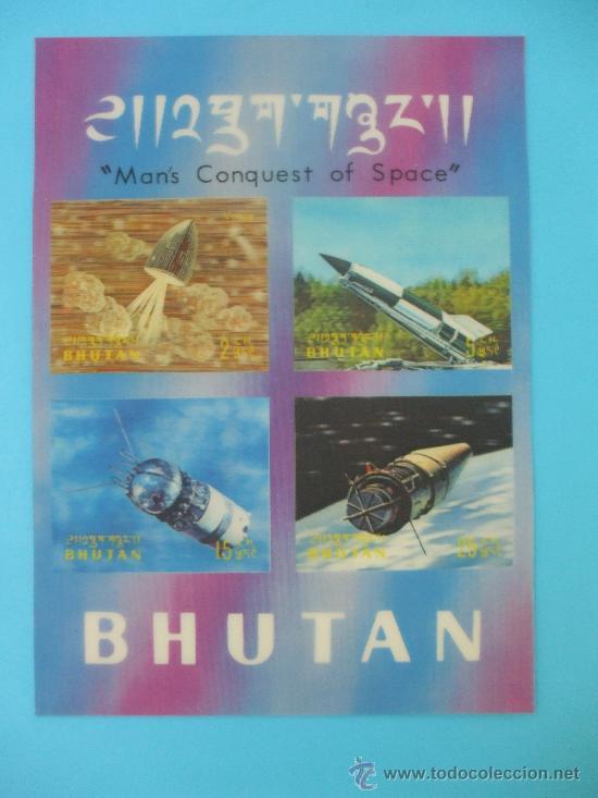 BLOQUE SELLOS BHUTAN TRIDEMENSIONAL (Sellos - Temáticas - Conquista del Espacio)