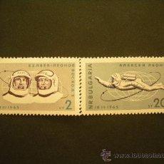 Sellos: BULGARIA 1965 IVERT 1326/7 *** CONQUISTA DEL ESPACIO - VUELO DE VOSKHOD II - ASTRONAUTAS. Lote 32901003