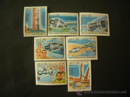 LAOS 1985 IVERT 655/61 *** 10º ANIVERSARIO VUELO APOLO - SOYUZ - CONQUISTA DEL ESPACIO (Sellos - Temáticas - Conquista del Espacio)