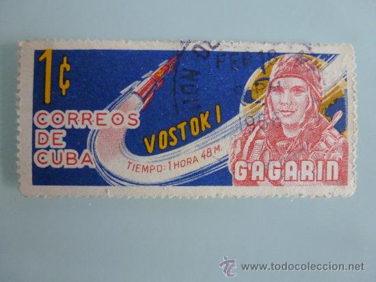 SELLO DE CUBA GAGARIN 1 CENTIMO 1966 (Sellos - Temáticas - Conquista del Espacio)
