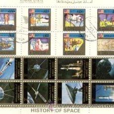 Sellos: HOJA BLOQUE 16 SELLOS - AJMAN STATE - HISTORY OF SPACE - CON MATASELLOS DE FAVOR. Lote 34994421
